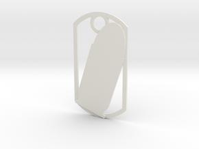 45 Auto (ACP) dog tag in White Natural Versatile Plastic
