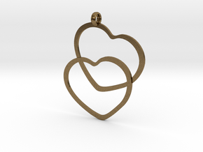 2 Hearts necklace pendant in Natural Bronze