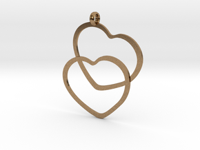 2 Hearts necklace pendant in Natural Brass