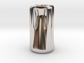 Modern Miniature 1:24 Vase  in Rhodium Plated Brass: 1:24