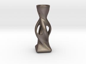 Modern Miniature 1:12 Vase in Polished Bronzed-Silver Steel: 1:12