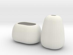 Modern Miniature 1:12 Vase Set in White Natural Versatile Plastic: 1:12