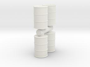 Oil Barrel (x4) 1/48 in White Natural Versatile Plastic