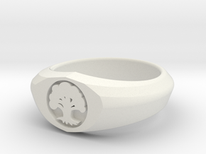 MTG Forest Mana Ring (Size 14) in White Natural Versatile Plastic