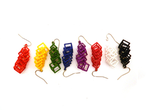 Cubes Earrings in Blue Processed Versatile Plastic