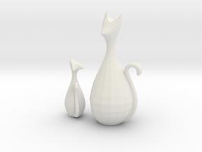 Decorative Home Cat Sculpture in White Natural Versatile Plastic: Small
