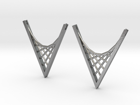 Parabolic Suspension Earrings in Natural Silver