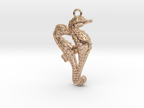Seahorse Couple in 14k Rose Gold Plated Brass