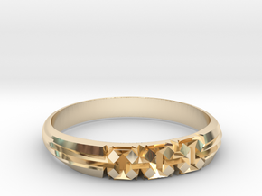"Origami-inspired ring - ""extruded boxes"" in 14K Yellow Gold: 6 / 51.5"