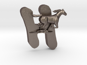 Handsme-Horse in Polished Bronzed-Silver Steel