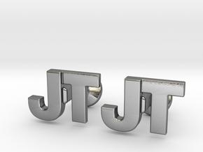 Monogram Cufflinks JT in Polished Silver