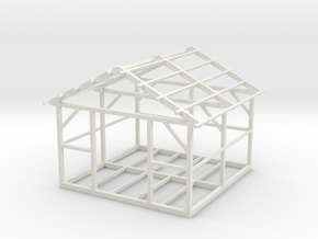Wooden House Frame 1/87 in White Natural Versatile Plastic