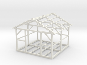 Wooden House Frame 1/64 in White Natural Versatile Plastic