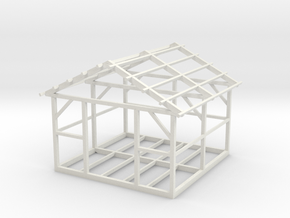 Wooden House Frame 1/48 in White Natural Versatile Plastic