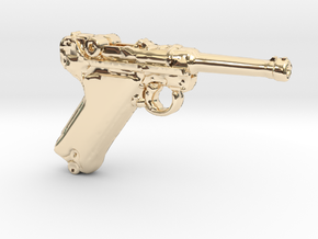 1/18 Scale Luger  in 14K Yellow Gold