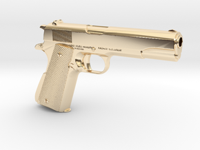 1/3 scale Colt 1911 in 14K Yellow Gold