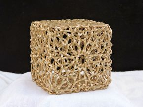 Islamic Woven Cube  in Raw Bronze