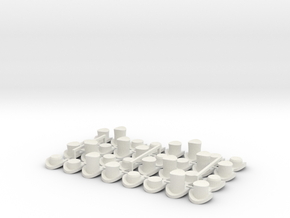 28mm Hats (x32)  in White Natural Versatile Plastic