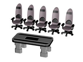 1/72 DS9 Runabout Lounge Table and Chairs in Smooth Fine Detail Plastic