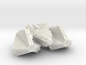 3788 Scale Tholian X-Ship Patrol Corvettes (3) in White Natural Versatile Plastic