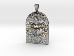 Skull and Angel Wings Tombstone Tag with Bail in Fine Detail Polished Silver