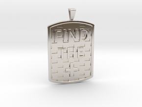 Find the Positive Dog Tag with Bail in Rhodium Plated Brass