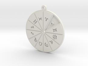 Taurus - Zodiac Pendant in White Premium Versatile Plastic