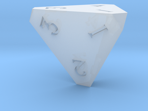 Sharp Edged d4 Die - Polyhedral Dice - 4 Sided Die in Smooth Fine Detail Plastic