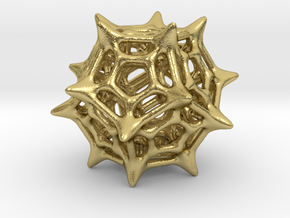 Dodecahedron Pendant Type C in Natural Brass: Small