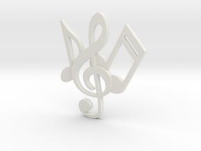 Music Necklace in White Natural Versatile Plastic