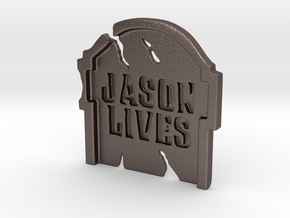 Jason LIVES Tombstone Pendant ⛧ VIL ⛧ in Polished Bronzed-Silver Steel: Large