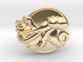 Playful Octopus Signet Ring Size 6.5 in 14k Gold Plated Brass