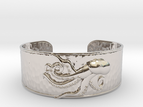 Playful Octopus Large Hammered Cuff in Rhodium Plated Brass