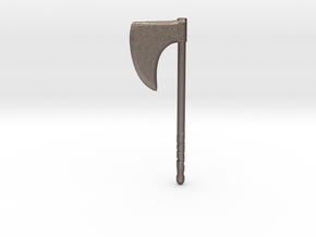 One handed Axe  in Polished Bronzed-Silver Steel