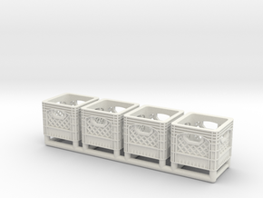 Plastic Crate 01. 1:12 Scale in White Natural Versatile Plastic