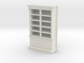 Miniature 1:48 Bookshelf in White Natural Versatile Plastic