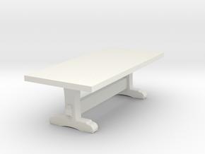 Miniature 1:48 Long Rustic Table in White Natural Versatile Plastic