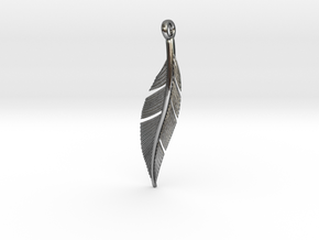 Feather Pendant in Polished Silver