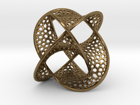 Borromean Rings Seifert Surface (5cm) in Raw Bronze