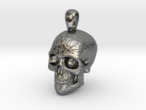 Skull Pendant in Polished Silver