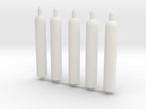 1:16 gas bottle 5x technische Gase in White Natural Versatile Plastic