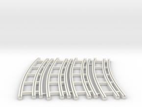 Dual Gauge Baulk Road RH Curve Multipack (N Scale) in White Natural Versatile Plastic