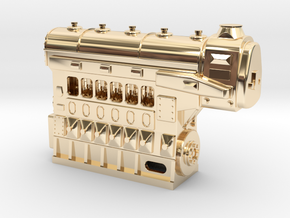 Fairbanks-Morse 1034HP 6cyl Diesel Engine in 14K Yellow Gold: 1:48 - O