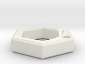 Hex Hook in White Natural Versatile Plastic