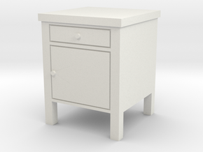 Hospital Night Stand 1:18 in White Natural Versatile Plastic