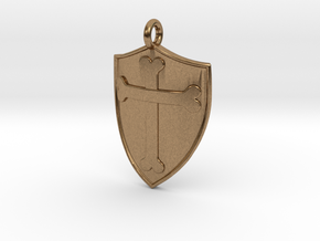 Medieval Shield Pet Tag / Pendant in Natural Brass