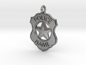 Police Badge Pet Tag / Pendant / Key Fob in Natural Silver