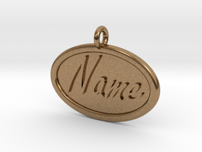 Oval Pet Tag / Pendant in Natural Brass