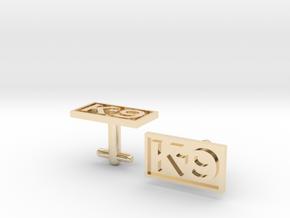 K-9 Cufflinks Silver, Brass, or Gold in 14K Yellow Gold