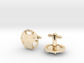 Sheriff's Star Cufflink (Style 3) Silver,Brass,Gol in 14K Yellow Gold
